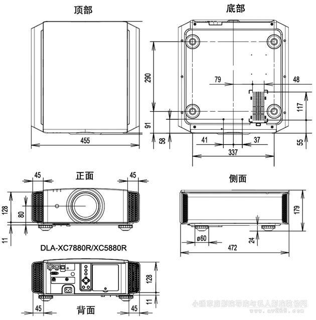 JVC XC5880投影机详细尺寸