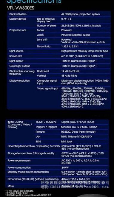 索尼VW300ES投影机参数