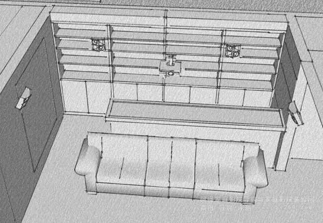家庭影院里的吧台酒柜设计