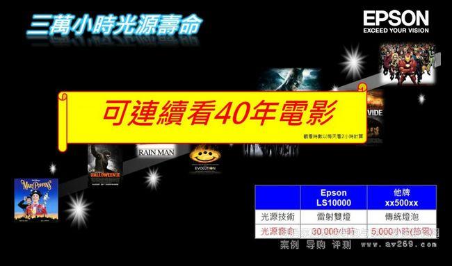 爱普生LS10000投影机灯炮寿命达3万小时