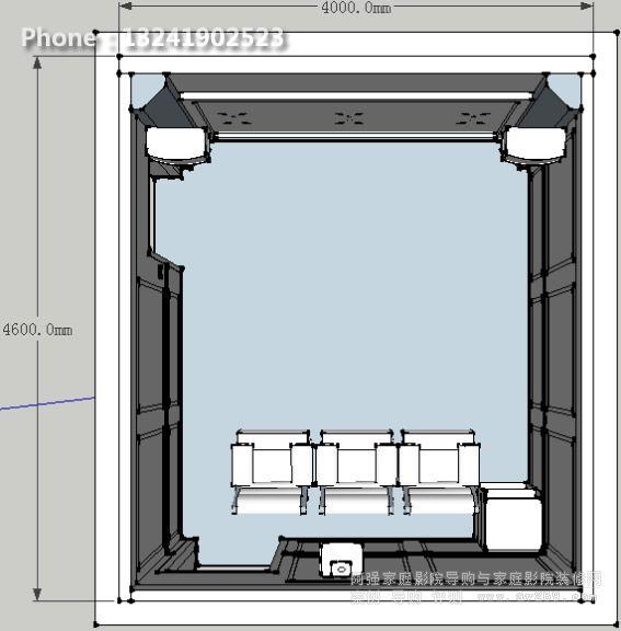 这是我们针对局部做的整改方案,同时针对整改后的结构提出更加人性化设计。采用一体式前置设备柜,可有效的解决小空间设备柜占用空间的问题,同时也解决了整体装修设计的风格一致性,保证了最终良好的影音体验。这在以往设计上我们很少用到这样的思路。