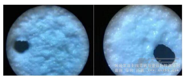 工艺不佳的屏幕在100 倍显微镜下的0.4mm微孔