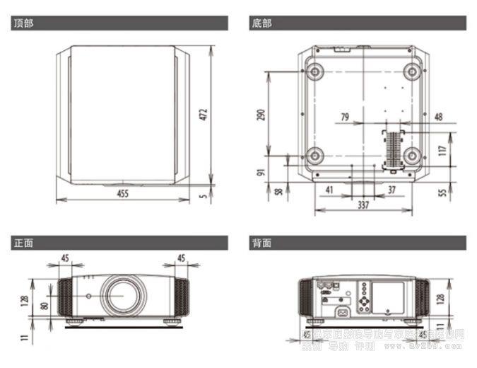 JVC X618投影机尺寸