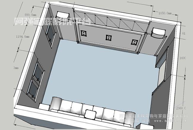嵌入式家庭影院空间示意图