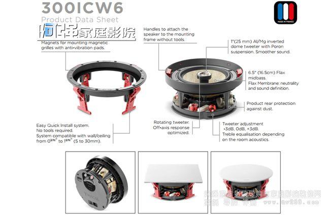 劲浪音箱 Focus 300ICW6 圆形嵌入音箱
