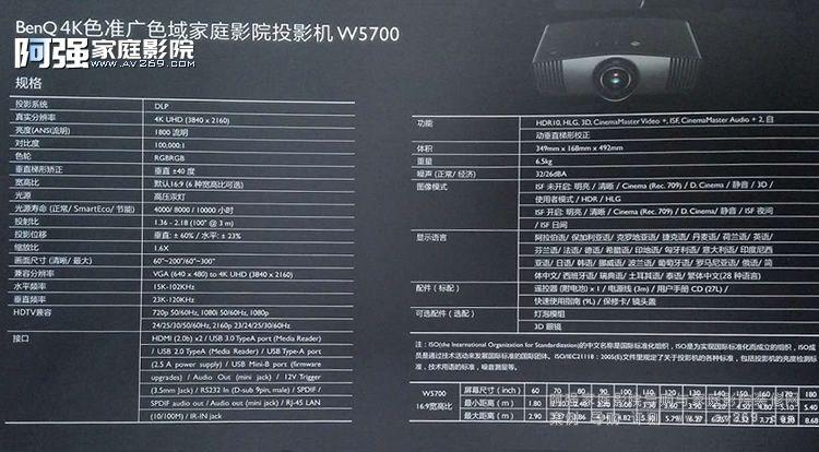Benq W5700投影机参数