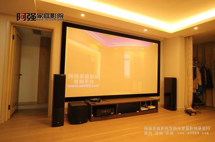 高端客厅影院OS画框投影幕与JBL音箱安装案例