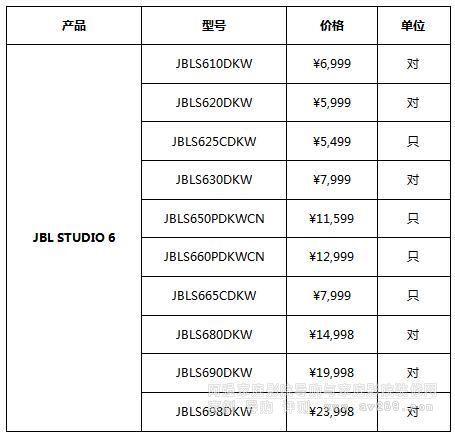 JBL Studio6系列报价表