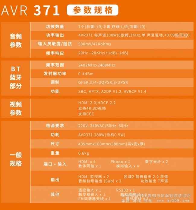 JBL AVR371家庭影院功放参数